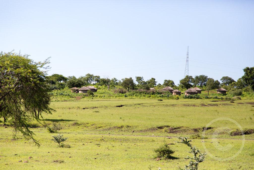 First sight of Massai huts